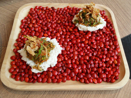 פריכיות אורז עם ברווז צלוי מוקפץ